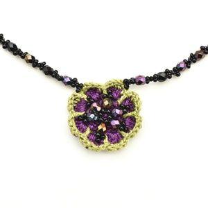 Glass Bead & Hand Crocheted Flower Choker Necklace